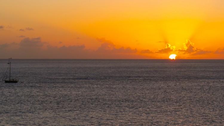 Sonnenuntergang vor St. Lucia