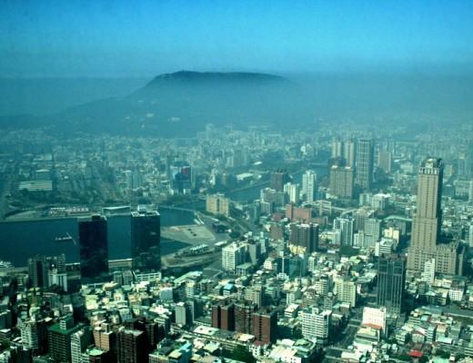Blick auf Kaohsiung, Taiwan vom Skytower